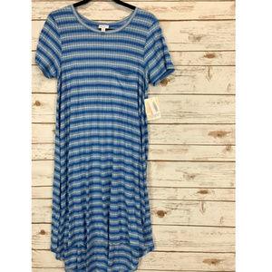 LuLaRoe Carly Dress Medium Blue & White NWT